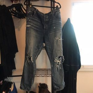 American Eagle Hi-Rise Distressed Girlfriend Jeans